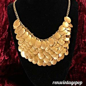 100 Golden Scales Statement Necklace